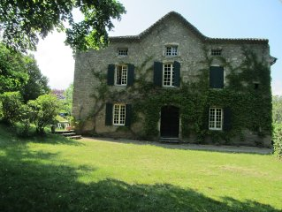 August Ardèche: 15p + family home.