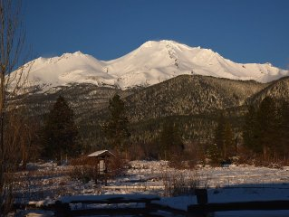 100 year old farm house on a seven acre meadow right below scenic Mt. Shasta