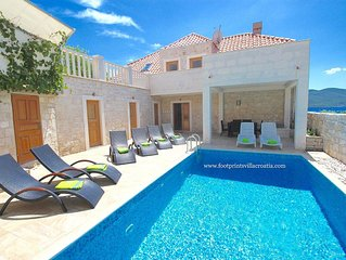 BEAUTIFUL SEAFRONT HOME WITH PRIVATE POOL. NORTH OF DUBROVNIK. ENGLISH OWNER