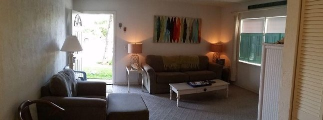 Living room. Comfy with a couch that folds out.