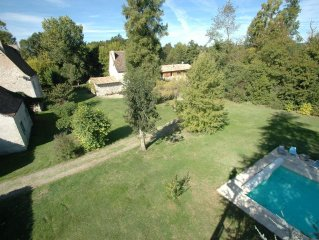 Two properties: 13th century manoir and mill, private garden & 12mtr heated poo