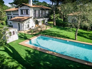 Hossegor Villa 7 chambres 14 pers. 200m Plage Centrale Piscine chauffée