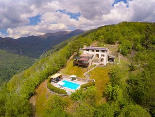Stunning hilltop villa in Barga, Tuscany with private pool and spectacular views
