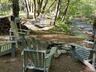 Clean, Comfortable Cabin on Rushing Creek w/ Private Swim Pond
