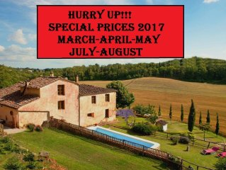 SPECIAL DISCOUNT 2017!!! Private Villa, pool, hot tub, wi-fi,15 km from Siena
