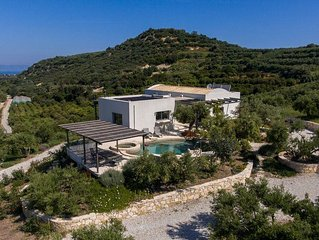 Stunning villa and swimming pool in private olive grove with panoramic sea views