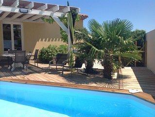 Villa  8 pers 4 ch. piscine, mer, canal du midi et nature protegee