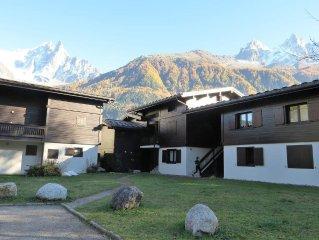 Appartement, a 5 min de la telecabine, vue sur le Mont Blanc, 4 couchages, WIFI