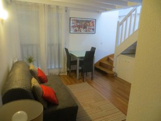 T2 apartment duplex in a quiet yet close to the beach