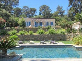 Vacances magnifique vue mer, maison avec piscine, terrasse ensoleillée, jardin