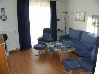 The modern furnished apartment is equipped with 1 bedroom with double bed, livi