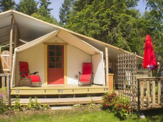 Comfortable camping in a private woodland setting