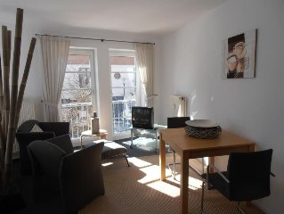 The modern Non smoking apartment is equipped with living room with double bed,