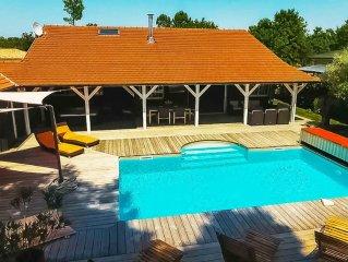 Cabane 13 en video, piscine chauffee, spa, sauna, 5mn Lege Cap- Ferret-Andernos