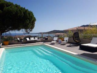 Villa calme et confortable, vue mer panoramique,300m de la plage
