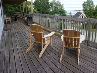 Ocean view 4 br apartment w/ large deck, grill, in town, parking, pet friendly
