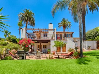 25% OFF APRIL! Spanish Villa w/Ocean Views, Sprawling Yard & Steps to Beach