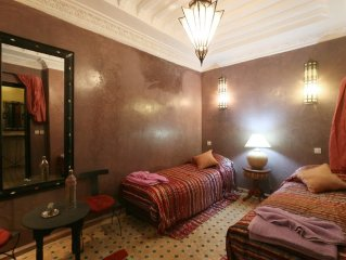 Bedroom in the center of Marrakesh with Internet, Air conditioning, Terrace, Bal