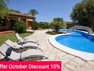 10% Descuento Octubre. Villa de lujo con piscina privada en Porto Cristo para 8