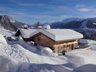 Cadre naturel préservé, vue imprenable sur  le Mont Blanc. Terrasse plein sud