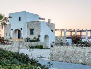 Stunning luxury seafront villa near Stavros, Akrotiri, Crete.