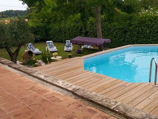 villa with garden, swimming pool, large covered terrace and garden terrace