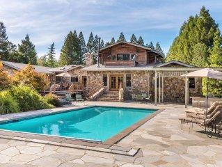 Glen Ellen Stone Retreat. 5 bd 4.5 baths w/ pool, and hot tub