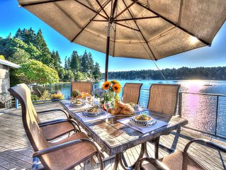 Spacious waterfront beachhouse with dock & buoy on inner Quartermaster Harbor