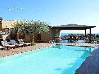 Splendida villa con piscina e spettacolare vista sul mare a Torre delle Stelle