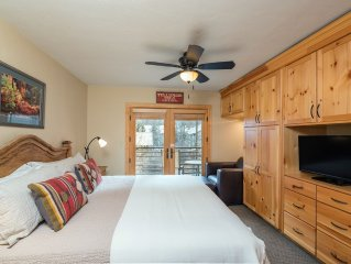Mountain + River Views from Viking Lodge 212! King Bed, Washer/Dryer, walk every
