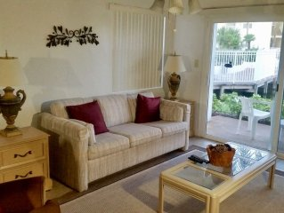5 min drive to Beach- Tiled Ground Floor- Pond View- Fully Furnished-  Specials!