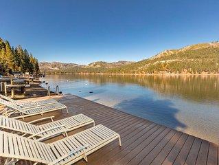 Donner Lakefront w/private pier, two decks, 180 degree views, family friendly!