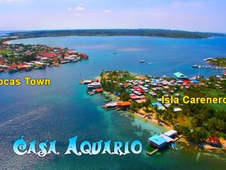 Queen Suite Over the crystal  Sea of Bocas del Toro with beautiful beach.