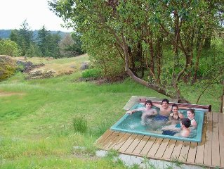 Private Hot Tub with Haro Straight view, Sauna, and Library
