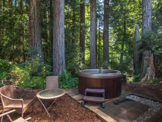 Forest Creek-  Redwood Getaway - Privacy w/ hot tub just a mile to the beach!