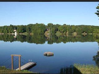 Iron River Lakefront all-seasons pet-friendly cabin on Hagerman Lake