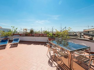 A sunny penthouse with a huge top floor terrace . It sleeps up to 6 guests