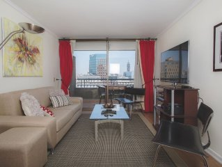 Santiago De Chile Modern Downtown 2BR 2 BA, A/C, W/D, Balcony Views, Location!!!