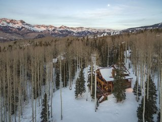 Private log home just 1 mile from Mountain Village Blvd. entrance.