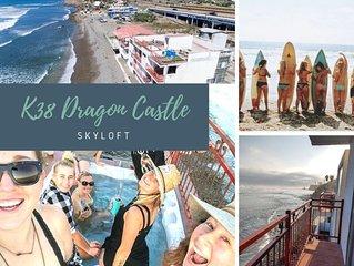 K38 Oceanfront DRAGON CASTLE- SKYLOFT + Soaking Tub