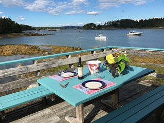 Oceanfront deck, kayaking, birds, lobster boats, island view, right on the water