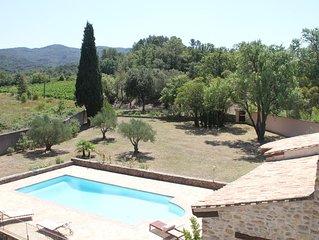 20mn Carcassonne: Domaine maison en pierres, piscine et spa au milieu des vignes