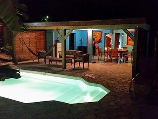 kaz a coco, villa bleue avec piscine privée, 2 chambres, 2 sdb