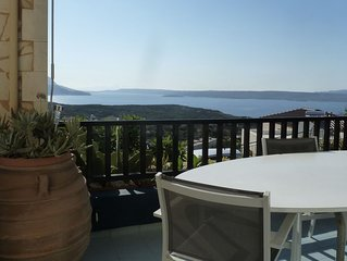 Charming Chania area villa with panoramic sea views and private pool. Sleeps 5