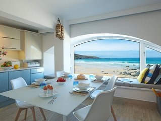 Beach apartment with parking situated on Porthmeor beach St Ives in Cornwall.