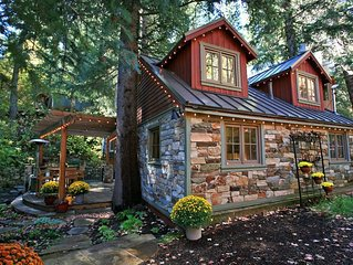 Storybook Stone Cottage is charming!  Streamside HotTub, Fireplace