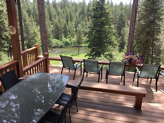 Elegant McCall home on Payette River. 4+ Bdr,  peace and beauty, family-style