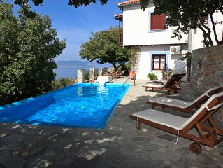 Traditional Villa Maria O with fantastic view between mountain forest and sea