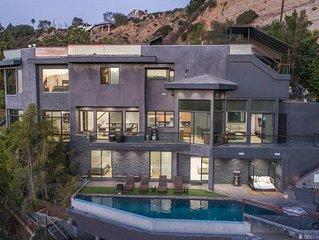 Best Modern Beverly Hills Estate, canyon views, Infiniti Pool, sauna ,Theater