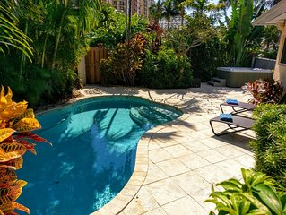 Tropical beach home with Pool & hot tub 1 block to the beach